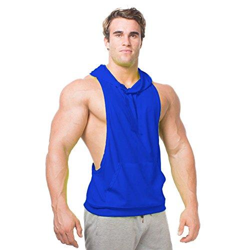 NANJUN Mens Fashion Sleeveless Hoodie Fitness Tank Top With Kangaroo Pocket(jh001-blue-m) - Hooded Tank Top