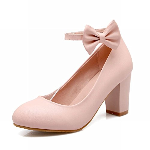 Carolbar Sweet Womens Buckle Bows Lolita Ankle Strap Chunky High Heel Dress Pumps Mary Janes Shoes Pink Bbcvut