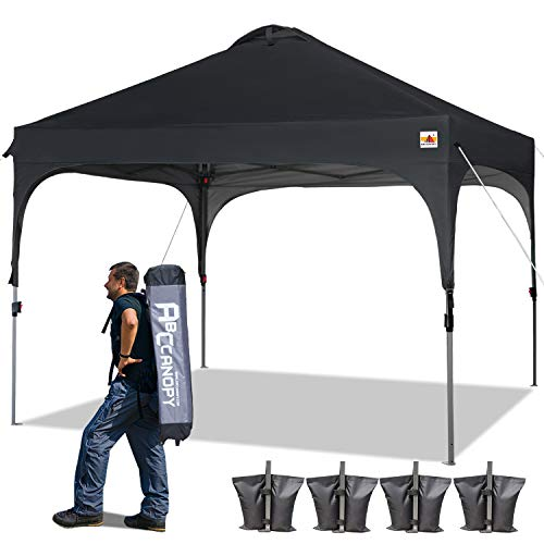 ABCCANOPY Canopy Tent 10x10 Pop Up Canopy Outdoor Canopies Portable Tent Popup Beach Canopy Shade Canopy Tent with Wheeled Carry Bag Bonus 4 Weight Bags, 4 x Ropes& 4 x Stakes, Black