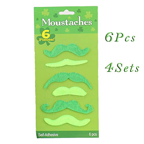 Wgg Green Moustaches Self Adhesive Fake Mustache Irish Beard Costume Accessory for St.Patricks Day (24 Count)]()