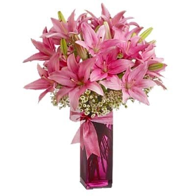 Indian Gift Emporium Beauty of Natural Red Lilies Bouquet (Bunch of 12)