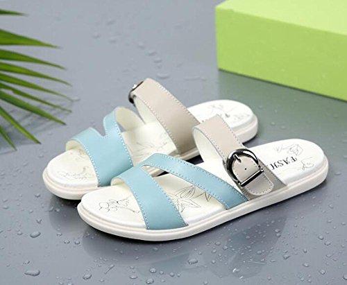 Sandalen L@YC Frauen Summer Slope Mit KüHlen Slippers 2017 Flach Boden Wear Sandalen Leder Schuhe , blue , 39