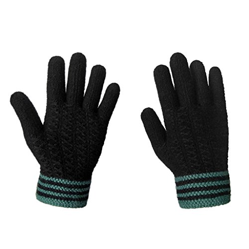 22bc533c7e8 Jual LETHMIK Mens Winter Thick Gloves Black Knit with Warm Wool ...