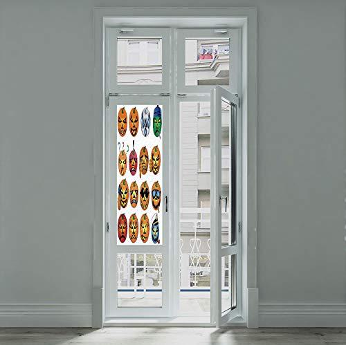 YOLIYANA Stained Glass Window Film,Halloween Decorations,for Bathroom Shower Door Heat Cotrol Anti UV,Carved Pumpkin with Emoji Faces Halloween Humor Hipster,24''x70''