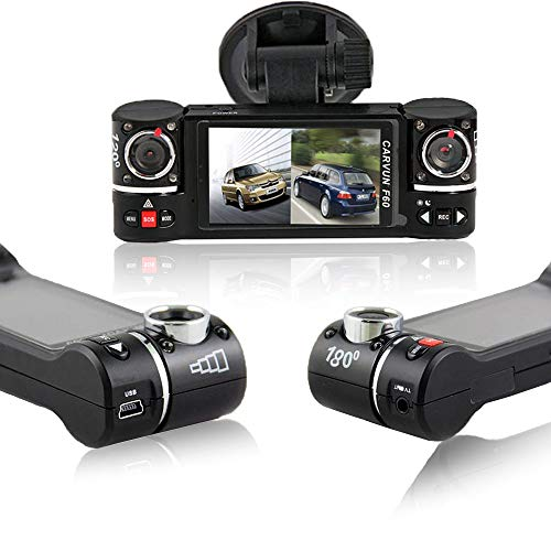 inDigi Dash Cam 2.7″ TFT LCD Dual Camera Rotated Lens Car DVR w/IR Night Vision – New