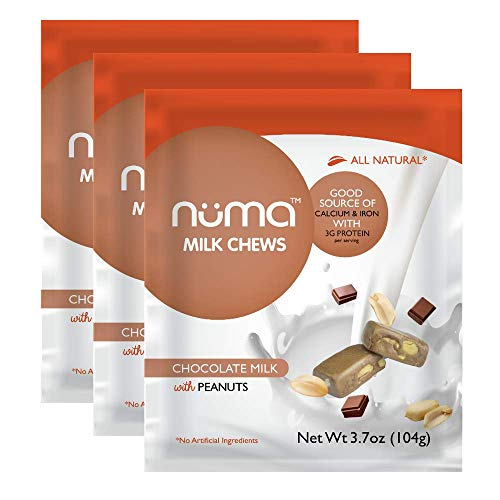 Healthy Chocolate Milk Candy, Low Calorie, Low Sugar Natural Chewy Snack with Peanuts, 3g Protein, Gluten Free, 3 bags with 24 individually wrapped chews total ()