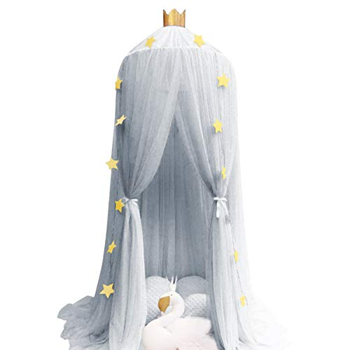 Dix-Rainbow Kid's Bed Canopies Yarn Crib Netting Princess Girls Bed Canopy Toddler Baby Crib Mosquito Net Curtains Mesh Lace Round Dome Crown Kids Play Tent Boys Reading Castle Game House Grey (Canopy Cribs)