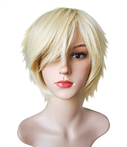 [Another Me Wig Women and Men's Layered Short Straight Hair Wig Natural Light Blonde Hair Heat Resistant Fiber Party Cosplay] (Mary Jane Watson Halloween Costumes)