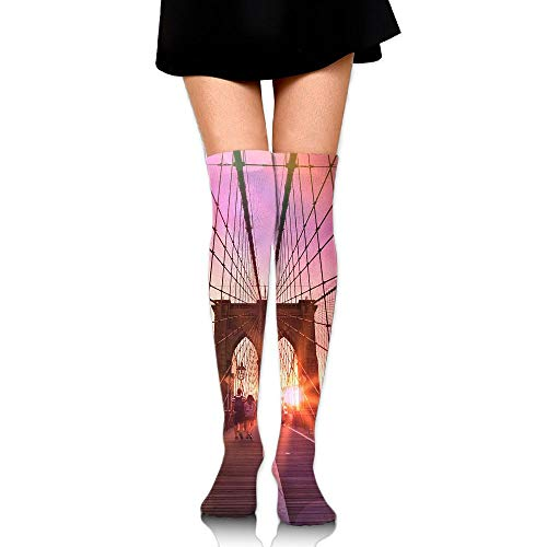 (High Elasticity Girl Cotton Knee High Socks Uniform Brooklyn Bridge Women Tube)