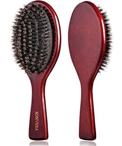 Boar Bristle Hair Brush Men Mens Brush Hair Brushes for Women Pure Boars Hair Brushes for Women Mens | Oval Brush | 100% Bamboo Wooden Bore Pro Eco Hairbrush for Thin Natural Soft Fine Hair