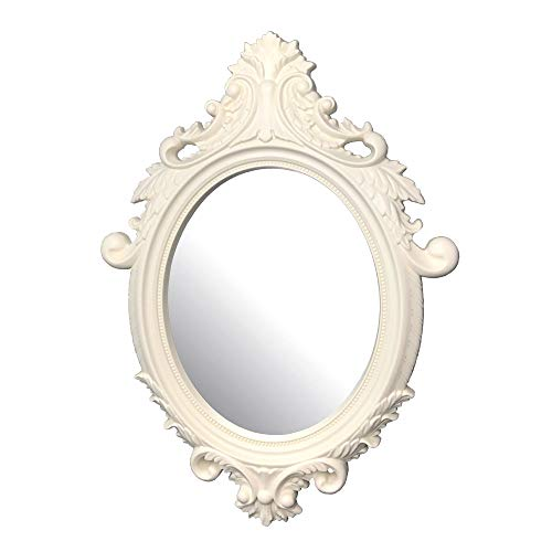 dwelling Company French Country Style Wall Decorative Mirror in Ivory Color in Apporx.15.7x21.6x1.37Thk. for Hallway, Makeup, Bedrooms, Dressers, Bathroom, Kitchen, Country Decorations, Boho Style