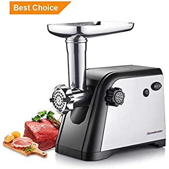 Homeleader Electric Meat Grinder, Stainless Steel Meat Mincer Sausage Stuffer, Heavy Duty Food Processing Machine with 3 Cutting Plates, Sausage Making Kit, Blade & Kubbe Attachment, ETL Approved