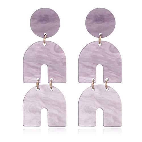 - Fashion Horseshoe Acrylic Dangle Earrings Statement Acetic Acid Long Drop Earrings For Women Trendy Pendientes Jewelry(purple)