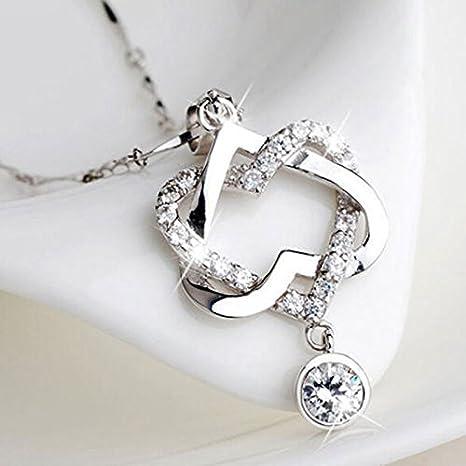 Mujeres golpe corazón colgante collar cristal acero inoxidable moda regalos