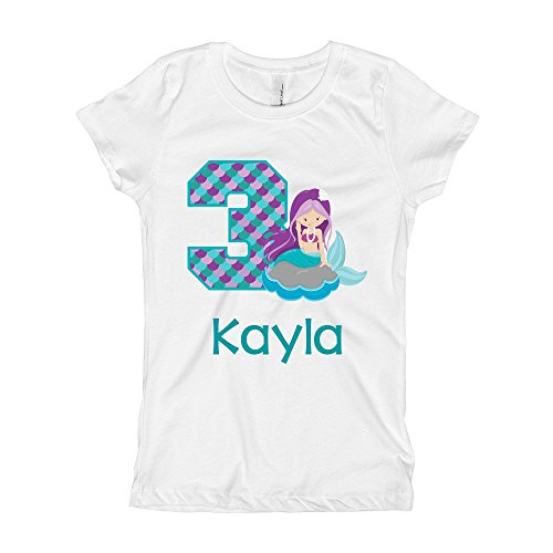 Girls Mermaid Birthday Shirt Any Age | Personalized with Any Name (White, 3/4)]()
