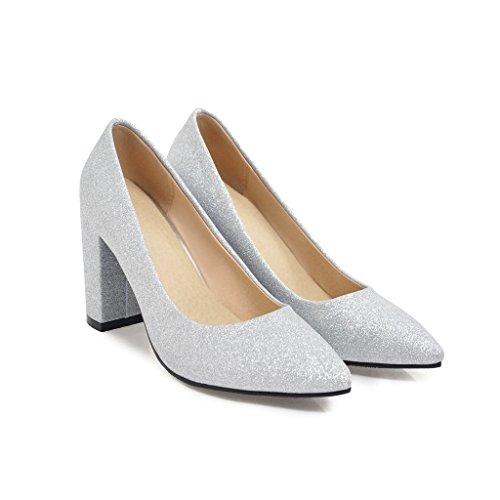 Chaussures Peu amp;X Chaussures Bloc Talon Femmes Silver Bouche QIN Profonde qFU0XwxU