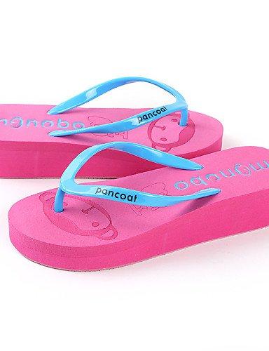 LFNLYX Zapatos de mujer-Tacón Cuña-Cuñas / Zapatillas / Chanclas-Sandalias-Exterior / Vestido / Casual-Látex-Negro / Azul / Amarillo / Rojo Blue