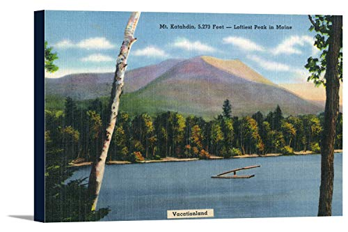 Katahdin Cabin - Mount Katahdin, Maine - View of the Mountain and Lake (36x24 Gallery Wrapped Stretched Canvas)