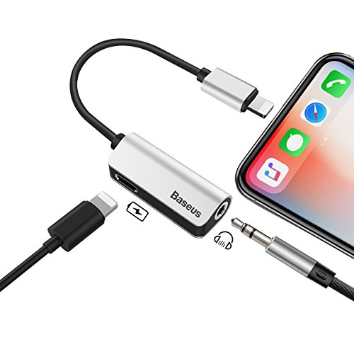 iPhone 7/7Plus Adapter,Baseus Lightning to 3.5mm Headphone jack Audio & Charge Adapter for iPhone X/8/8Plus/7/7Plus