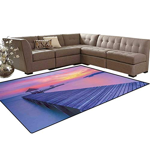 Beach Door Mats Area Rug Dreamy Seascape Curve Jetty Romantic Resort Morning Time Panoramic View Anti-Skid Area Rugs 6