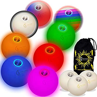 Flames N Games Pro LED Glow Juggling Balls Ultra Bright Battery Powered Glow LED Juggling Ball Sets with Travel Bag. (Green/Blue/Pink): Sports & Outdoors