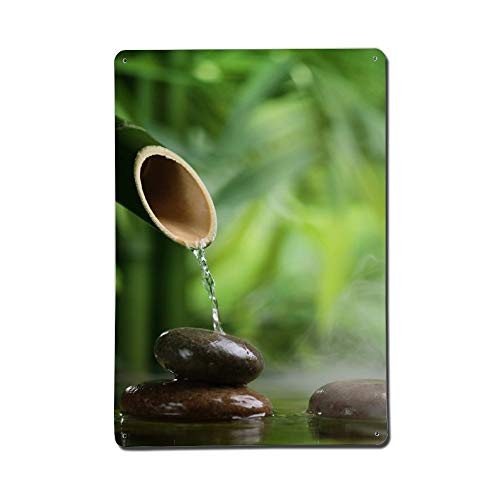 HE - Fashion Zen Garden Bamboo Fountain Water and Stone Wall Decor Signs - Funny Novelty Metal Signs - Personalized Custom UV Protected Weatherproof Aluminum Signs for Garage Home Bar