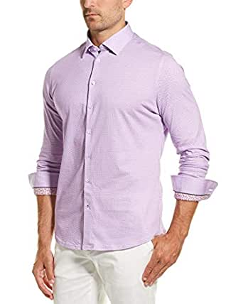 Stone Rose Men's Cotton Knit Geometric Print Long Sleeve Shirt, Purple, 1/XS