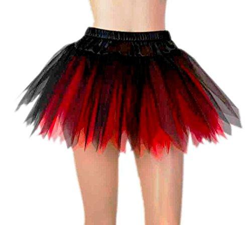 """14""""Pixie hadas satén y tul, rojo/negro tutú disfraz de rara Niñas/Lady mujeres Fancy falda Red/black"""
