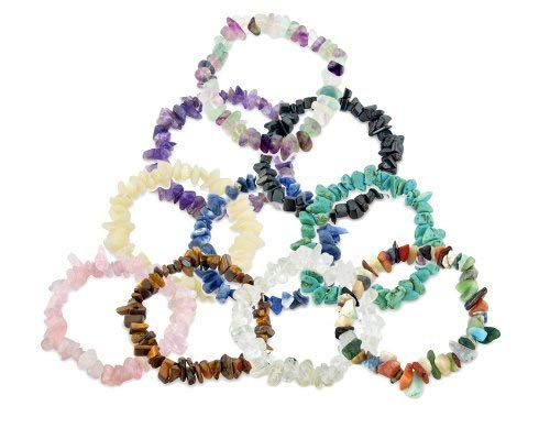 (Real Gemstone Chip Bracelets x 10 - Party Bag Filler)