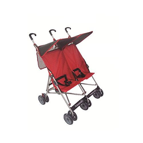 Amoroso Twin Baby Stroller, Black/Red