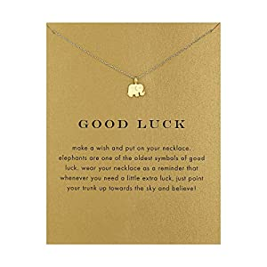 QXFQJT Tree Mountain Necklace Friendship Sister Elephant Good Luck Pendant Necklace with Meaning Card (Elephant-Gold)