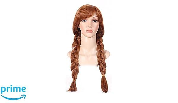 shoperama Frozen Anna Mujer Peluca marrón Adultos Frozen Wig Elsa Princesa Trenzas: Amazon.es: Juguetes y juegos