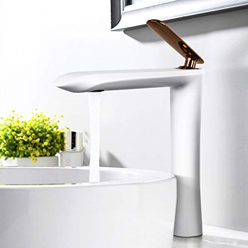 YOHOM Modern White Bathroom Vessel Sink Faucet Single Handle Tall Lavatory Vanity Faucet One Hole Water Basin Mixer Tap Solid Brass