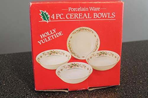Holly Yuletide by JAPAN Holiday Coupe Cereal Bowls SET/ 4 ~ NEW in Box-Very Hard to Find-Discontinued