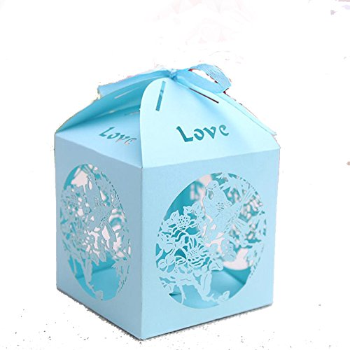 """50 Pack """"Love"""" Laser Cut Hollow Out Bridal Wedding Birthday Baby Shower Party Favors Candy Boxes"""