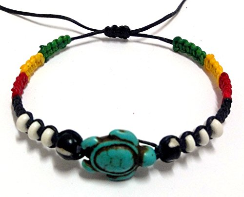 [Turtle Hemp Bracelet Turquoise Color Hawaiian Sea Turtle Friendship Rasta Cord Bracelet Plaided] (Dance Moms Amber Alert Costumes)