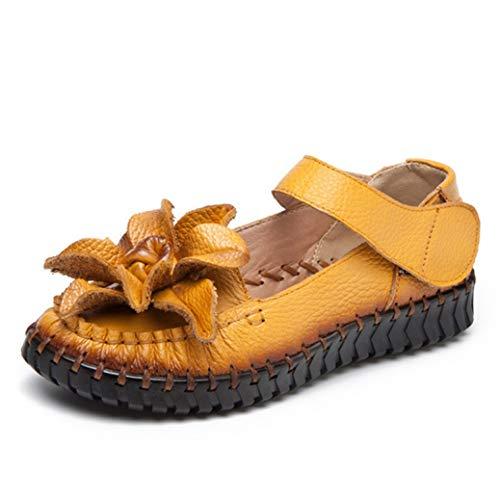 Leather Platforms Lambskin (JOYBI Women Round Toe Sandals Flats Faux Leather Hook Loop Comfort Slip On Flower Casual Platform Shoes Yellow)