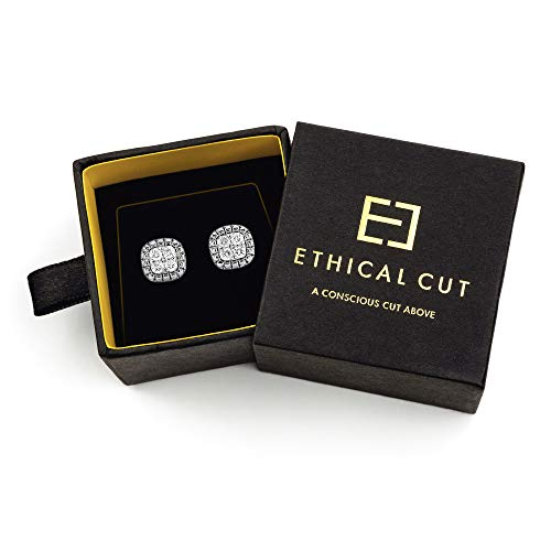 (Conflict Free, Authentic Lab Diamond Cushion Pavé Earrings, 0.10cts. Clustered Etched Design for Maximum Shine)