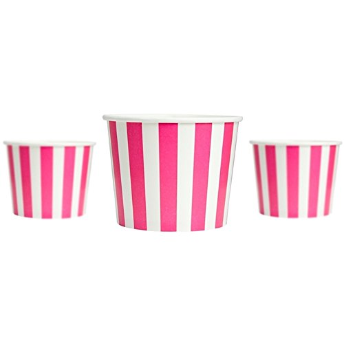 Frozen Dessert Supplies 12 oz Pink Striped Madness Paper Ice Cream Cups - Comes In Many Colors & Sizes! Fast Shipping! (Pink Ice Cream Container compare prices)