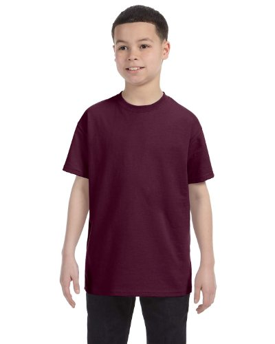 [Hanes boys Cotton T-Shirt(5450)-Maroon-M] (Maroon Kids Shirt)