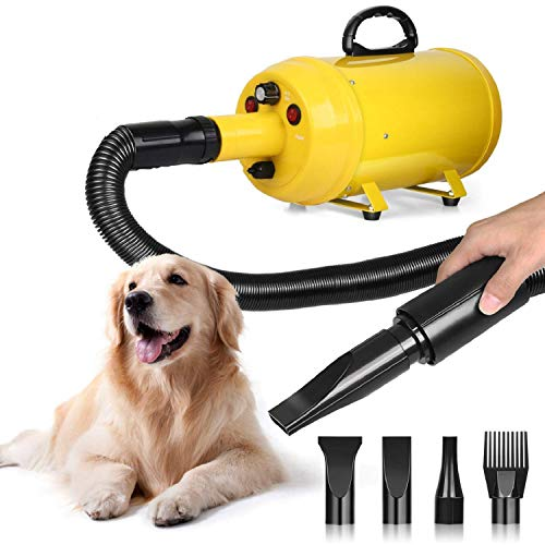 amzdeal Dog Dryer Dog Hair Dryer 3.8HP 2800W Pet Blow Dryer Professional Dog Grooming Dryer Dog Blower with Adjustable Speed and Temperature, Spring Hose, and 4 Different Nozzles (3 Temperatures 3 Speed Hair Dryer)