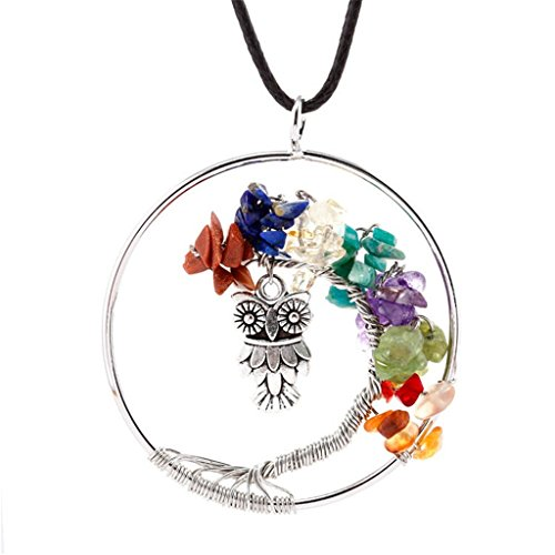 [Natural 7 Chakra Gemstone Tree Pendant Necklace - Owl] (Zz Top Costumes)