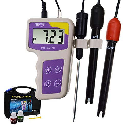 3 in 1 pH mV ORP Temperature Redox Meter, Removable Electrode Portable Water Quality Tester Thermometer Analysis Analyzer for Hydroponic Aquarium Fish Tank Pond Pool Spa Salt Fresh Water