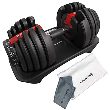 Sport24 Pesas Libres con Mancuernas Ajustables marcadores de Placa de Peso, Botella coctelera Toalla proteína-Entrenamiento Corporal Muscle Fitness 2.5kg ...