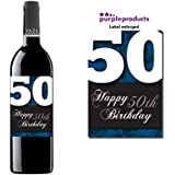 Blue Happy 50th Birthday Glossy Wine bottle label Celebration Gift for Women and Men. by Purpleproducts