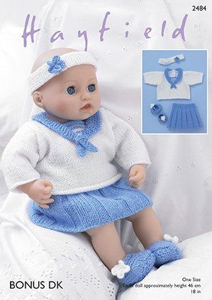 Sirdarhayfield Dolls Knitting Pattern 2484 Baby Dolls Sailor Top
