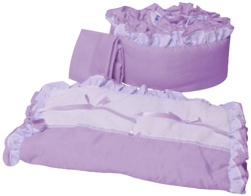 Babyoll Bedding Regal Neutral Mini crib/Portable/ Port-a-Crib Bedding Set for boy and girly, lavender/white ()