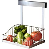 Ctystallove Multifunctional Stainless Steel Hanging Fruit Vegetable Storage Basket for Kitchen & Bathroom Wall