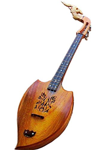 Isarn Acoustic Phin 3 Strings, Thai Lao Guitar Musical Instrument, Traditional Thai Musical Pin (Piccolo Bass Strings)