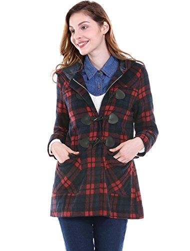 Plaid Hooded Coat (Allegra K Women's Toggle Closure Hooded Plaids Coat XL Red)